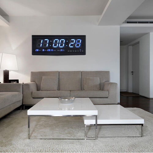 LED Wanduhr Digitaluhr Uhr mit Datum Temperatur Wohnzimmer Küchuhr in Blau GD