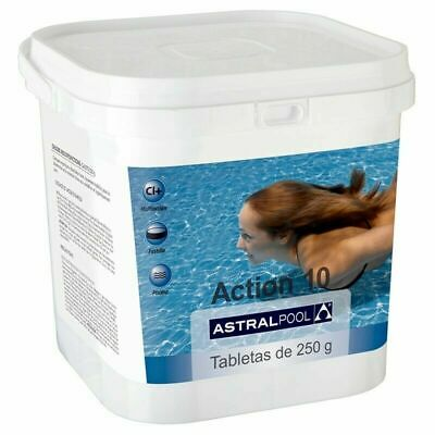 Cloro para piscina Astralpool Action-10 tabletas multiaccion 250gr 5Kg