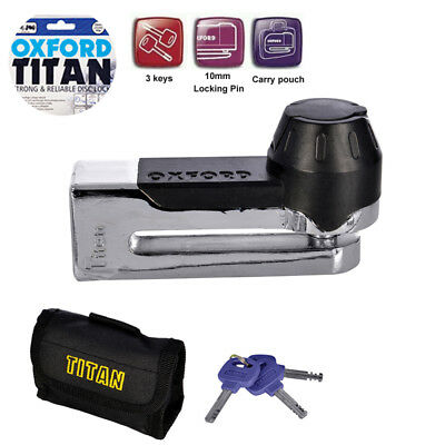 Oxford Motorbike Motorcycle Titan Security Disc-Lock & Pouch + Keys Chrome