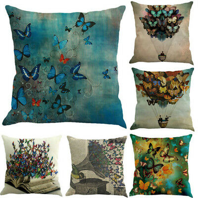 Butterfly Painting Linen Cushion Cover Throw Waist Pillow Case Home Decor Gift 9 ()