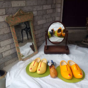 ANTIQUE MIRROR + WOODEN DUTCH SHOES **SEE EACH PRICE *