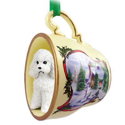 Poodle Christmas Ornament Teacup White Sport