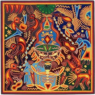 "HUICHOL YARN PAINTING Original Mexican Folk Art 24"" x 24"""