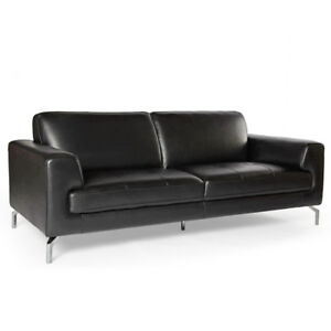 Mobler Black Leather Sofa