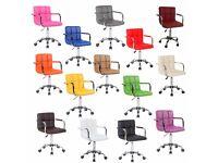 New *£35* Cuban Executive Faux Leather Computer Office Desk Swivel Studio Salon Barber Wheels Chair