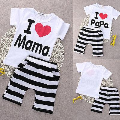 Papa&Mama Baby Boy Girl T-shirt+Short Pants Boutique Outfits Clothes Summer US