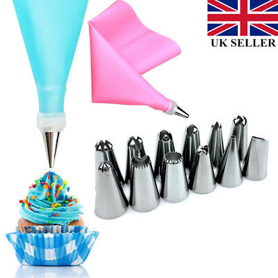 1 Set Silicone Icing Piping 12x and Bag Pastry Cream Nozzle Steel Stainless