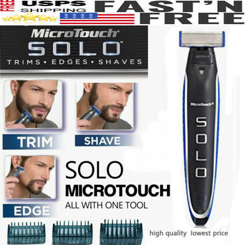 Men Micro Touch SOLO Rechargeable Trimmer Razor Shaver Edges W/3PCS Combs Gifts