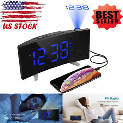 Digital Projection Dual Alarm Clock FM Radio 5 Dimmable Kids Snooze For Bedroom