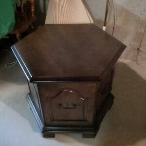 Walnut Colour Side Table with Storage Like NEW