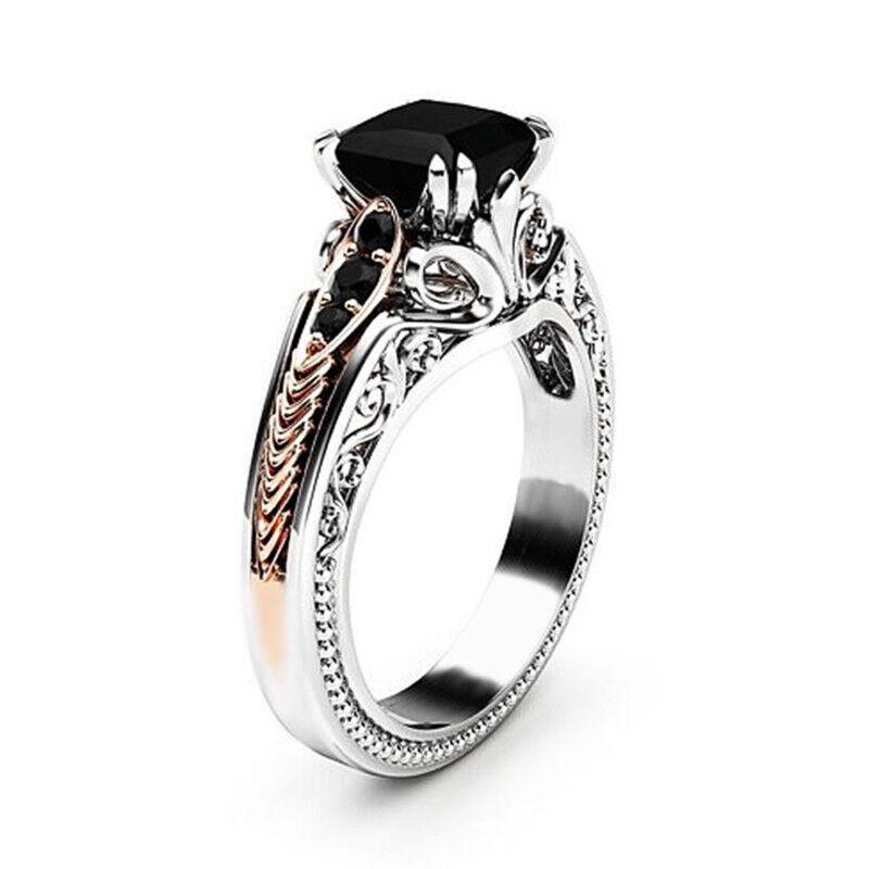 Gorgeous Women 925 Silver Wedding Rings 2.10ct Black Sapphir