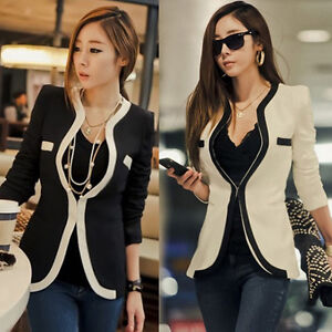 Fashion-Women-Lady-White-Black-Colors-OL-Suit-Blazer-Coat-Slim-Jacket-Outerwear