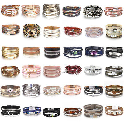 Fashion Unisex Pearl Leather Multi-layers Bangle Charm Wrap Cuff Bracelets Women](Bangle Charm Bracelets)