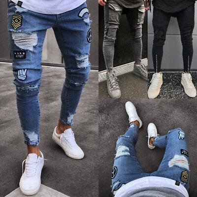 US Seller Men's Ripped Skinny Biker Jeans Destroyed Frayed Slim Fit Denim Pants