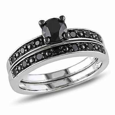 Sterling Silver 1 Ct Black Diamond Tw Bridal Set Ring