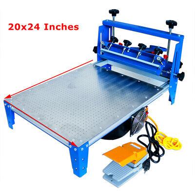 20 X 24 Screen Printing Machine Vacuum Pallet Foot Switch Micro-adjust Press