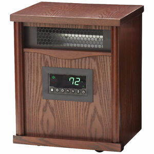 McLeland Design 4-Element Infrared Heater – Dark Oak Wood, New