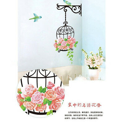 (Flowers Bird Cage Removable Wall Sticker Room Decor Mural Art Home Decal)