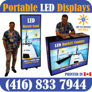Portable Trade Show LED Displays Back Walls Promo Event Counters