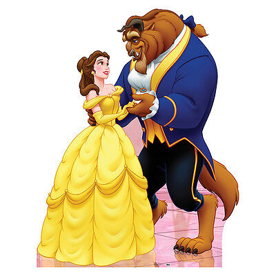 BELLE & BEAST Disney Beauty & the Beast CARDBOARD CUTOUT Standee Standup Poster Disney Belle Cardboard
