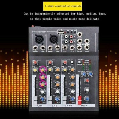NEW 4 Channel Audio Mixer DJ Sound Mixing Console USB 8V Amplifier Karaoke KTV Channel Audio Mixing Console