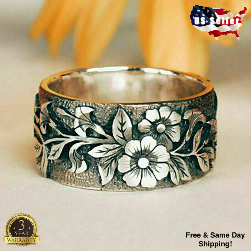 Jewellery - Pretty Flower 925 Silver Rings for Women Jewelry Party Rings Size 5-10