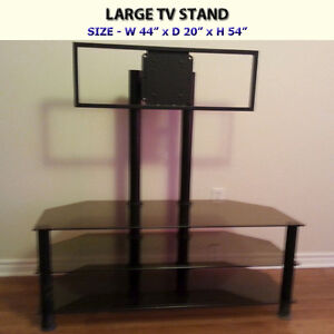 LARGE SMOKE GLASS TV STAND - EXCELLENT CONDITION