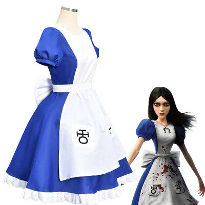 Alice Madness Returns Halloween Costume (Alice Madness Returns Princess Dress Cosplay Costume Maid Fancy Dress)