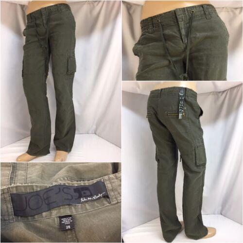 """Joe's Jeans Pants Sz 28 Army Green Cotton Linen """"T"""