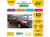 Red Ford Ranger 2.2TDCi 4x4 Double Cab Limited 2FROM £72 PER WEEK!