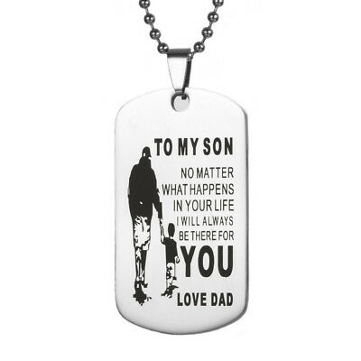 To My Son Dog Tags Love Dad - Necklace Pendant Gift for your Son Dog Tag Father Dog Gift Tags