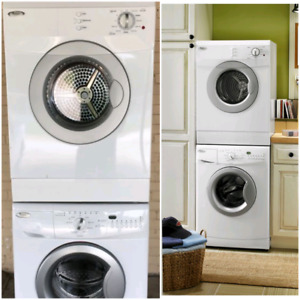 """White whirlpool 24"""" apartment size washer and dryer"""