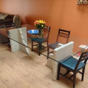 4 X 8 X 5/8 Glass Table with Pedestals