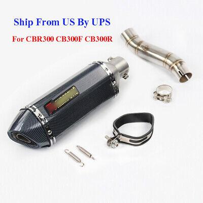 Honda Cbr Exhausts (For Honda CBR300R CB300F CB300R Slip On Exhaust System Tip Middle Mid Link)