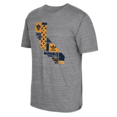 LA Galaxy MLS Adidas Men's Woodblack State Grey Tri-Blend T-Shirt