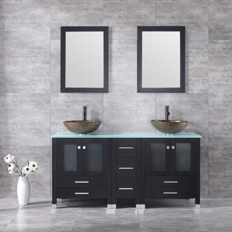 """60"""" Double Bathroom Vanity Cabinet Top Glass Vessel Sink w/ Faucet Mirror Combo"""