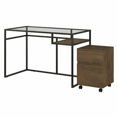"""Bush Anthropology 48"""" Glass Top Writing Desk with Mobile File Cabinet"""
