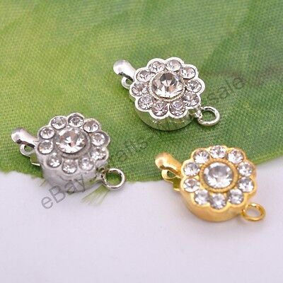 5 Sets Crystal Rhinestone Flower Connector Box Clasp For Bracelets Necklace