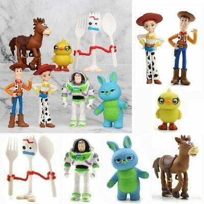 7 PCS Toy Story 4 Woody Buzz Forky Lightyear Jessie Figure Set Cake Topper Gift