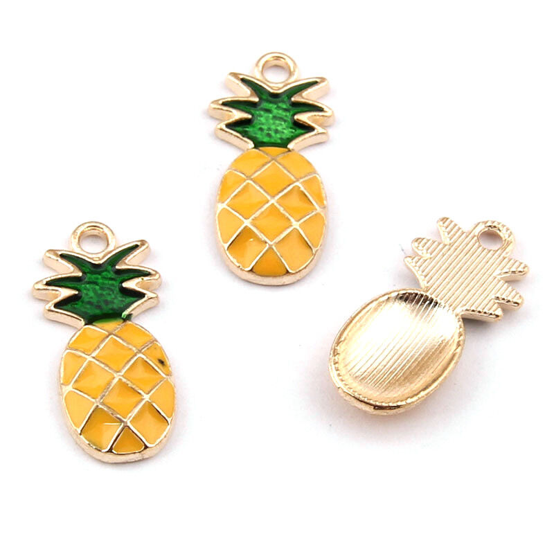 100pcs Cute Alloy Enamel Heart Charms Mini Dangle Pendants Gold Plated Back 8mm