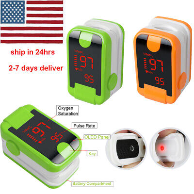 Led Display Pulse Oximeter Fingertip Blood Oxygen Spo2 Monitor - Green Orange