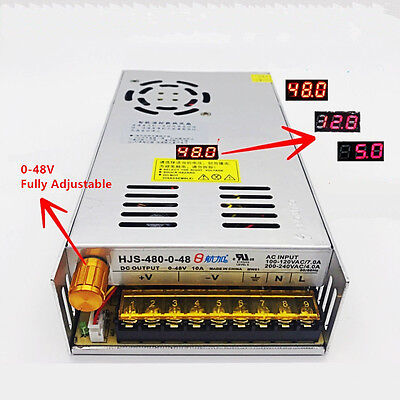Ac 110220v To Dc 0-48v 10a Adjustable Switching Power Supply With Display