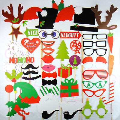 50PCS Christmas Photo Booth Props Lips Moustache On A Stick For Party US Ship (Christmas Props For Photo Booth)