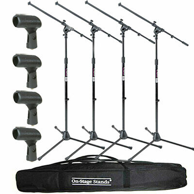 On-Stage MS7701B Tripod Boom Mic Stand 4 Pack + Speaker Stand Bag + 4 Mic