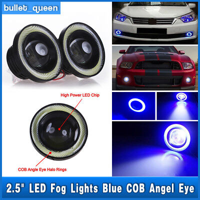 High Power LED Projector Fog Light w/ Blue COB Halo Angel Eye Ring For Nissan (Power Glass For Eye)