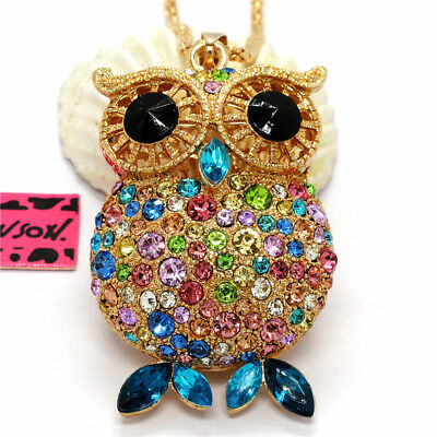 Eyed Owl Pendant - Hot Cute Colorful Crystal Big Eye Owl Betsey Johnson Pendant Sweater Necklace