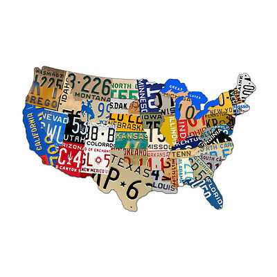 Vintage License Plate USA Map of the United States Steel Metal Garage Sign 25x16