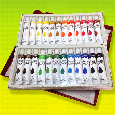 24 PC ACRYLIC Paint Set Professional Artist Color Painting 12ml Tubes