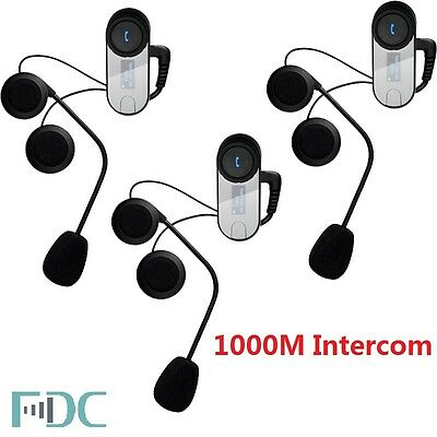 3pcs Barnd TCOM-SC Headset W/ Screen Bluetooth Motorcycle Helmet 1000M Intercom