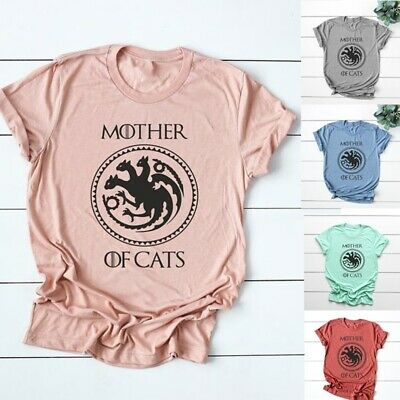 Women Summer Short Sleeve Letter Printed Mother of Cats Funny T Shirt Casual New